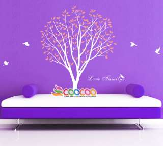Sticker Mural Removable vinyl large tree birds love family 84