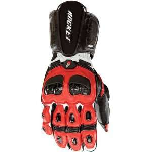 Mens Leather Street Racing Motorcycle Gloves   Red/Black / Large