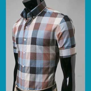 Bros Mens Western PLAID Shirts Short Brown XS,S,M no8