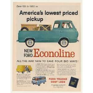 1961 Ford Econoline Lowest Priced Pickup Truck Print Ad