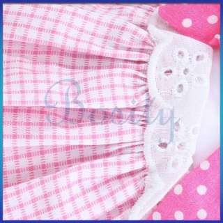 Pet Dog Layered Dress Checked Skirt Apparel Clothes   S