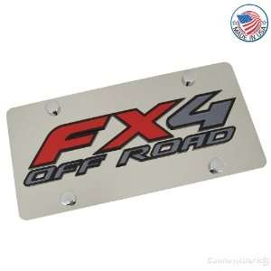 Ford FX4 Offroad Logo On Polished License Plate