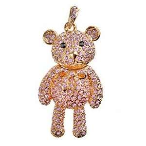 4GB U Disk Bear Shape USB Flash Memory Drive with Rhinestone (Pink)