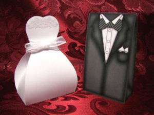 Wedding Favor Box Dress Tuxedo Bride & Groom Die Cut