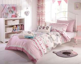 Girls Reversible Pink Heart Stripe / Teddy Bear Bedding or Curtains or