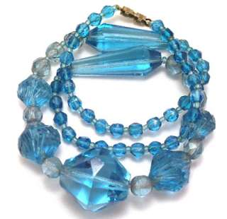 Vintage Czech Necklace Hand Cut Blue Crystal Jewelry