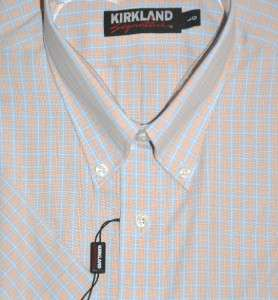 KIRKLAND Signature Mens Cotton SHIRT no IRON plaid short sleeve NEW