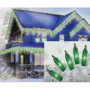 Set of 100 Green Mini Icicle Christmas Lights   White Wire