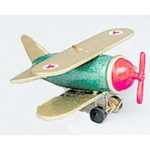 Green & Gold Wooden Airplane Christmas Ornament