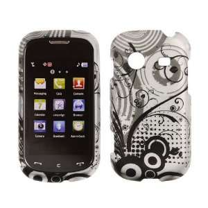 R640 / Character Transparent Black Flowers on Silver Rubberized Design