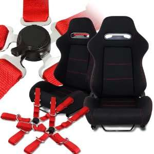Universal JDM Black Reclinable Racing Seats with Red Stitchings and