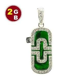 2GB Luxury Emerald with Crystal Jewelry Flash Drive (Green