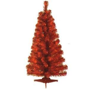 3 Red Pencil Pine Pre Lit Artificial Christmas Tree   Red