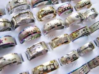 Wholesale lots Mixed 100 Beautiful Stainless steel Ring