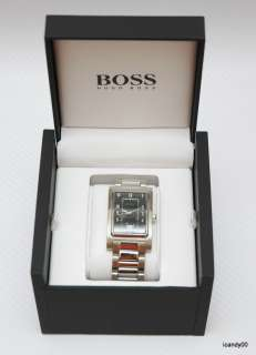 NIB HUGO BOSS Waterproof Steel Mens 1512214 Watch BLACK