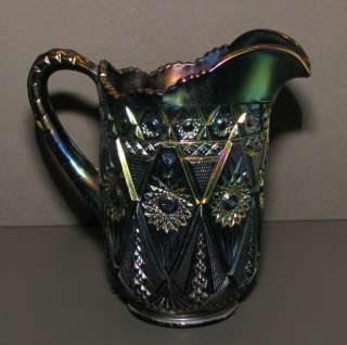 Imperial Diamond Lace Carnival Glass Water Pitcher Purple Amethyst pre