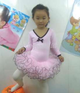 Girl Party Long Sleeve Leotard Pink Ballet Dance Tutu Costume Fairy