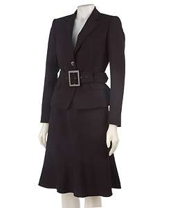 Anne Klein Two Button Black Skirt Suit