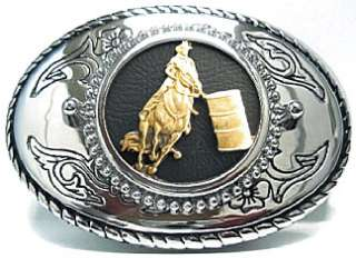 BARREL RACING RACER WESTERN BELT BUCKLE RODEO