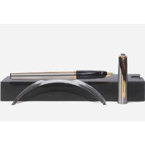 Parker Inflection Stainless Steel GT Fountain Pen, Gold Trims, Gold