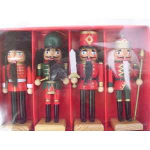 Nutcracker Christmas Ornaments Set of 4 Wooden 5