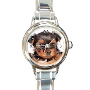 Yorkshire Terrier Puppy Dog 8 Round Italian Charm Watch