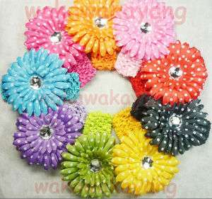 9pcs X Girl Baby polka dot gerber daisy flower Clip Crochet Headbands
