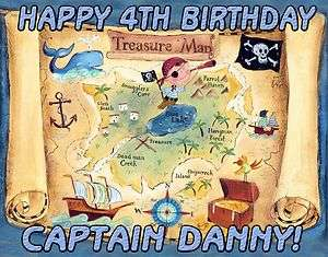 SHIP TREASURE MAP Theme Edible Image Cake Topper Sticker Cupcake
