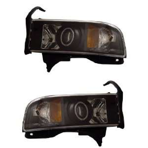 DODGE RAM 94 01 PROJECTOR HEADLIGHT HALO BLACK CLEAR AMBER