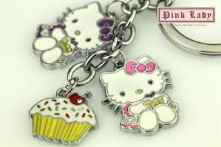 Cute Happy Birthday to Hello Kitty & Cupcake Charms Keychain