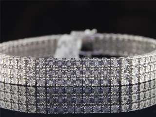 MENS 3 ROW WHITE GOLD FINISH REAL DIAMOND BRACELET TENNIS LINK BANGLE