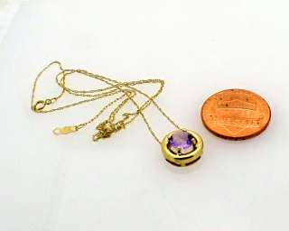 Estate Yellow Gold Amethyst Slide Charm Pendant Chain
