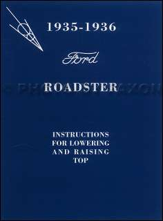 1935 1936 Ford Roadster Convertible Top Owners Manual with Envelope