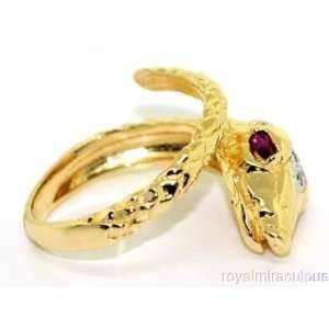 Ruby & Diamond Snake Ring 14K Yellow Gold Jewelry