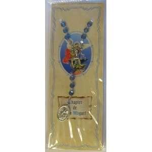 Spanish St. Michael Blue Devotional Carded Rosary Chaplet (RA 12 113