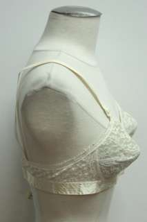 Vtg 1950s Off White Lace Bra Top