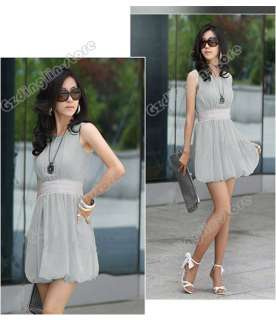 New Womens Korea Casual Sleeveless Empire Waist Stylish Chiffon Mini
