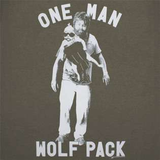 , The The Hangover One Man Wolf Pack Olive Green Graphic Tee Shirt