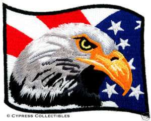 BALD EAGLE AMERICAN FLAG iron on EMBROIDERED PATCH USA