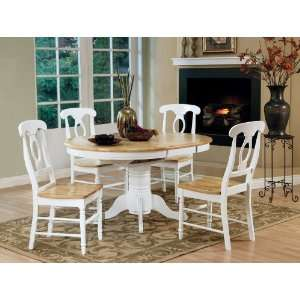 5pc White and Natural Maple Oval Dining Table Set