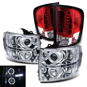 2011 Chevy Silverado Twin Halo LED Projector Head + LED Tail Lights