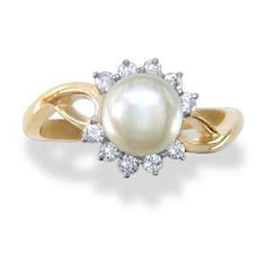 14KT Yellow Gold Diamond and Pearl Ring Jewelry