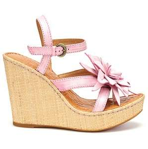 BORN Black Pink Green Gold MISS Espadrille Flower Wedge Sandals Shoes