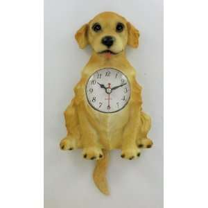Golden Retriever Dog Pendulum Wall Clock Tail Wags