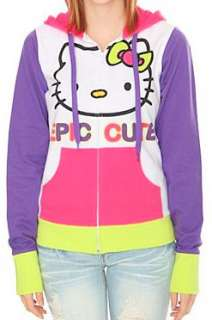 HELLO KITTY~ NEON GREEN PINK PURPLE WHITE EPIC CUTE HOODIE