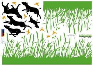 GRASS & DOGS Adhesive Removable Wall Decor Accents Stickers Decals