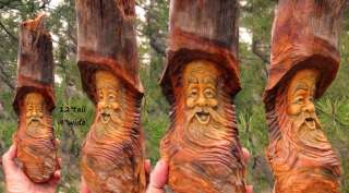 Tree Wood Spirit Carving Sculpture Forest Face Knot Head Wizard Gnome