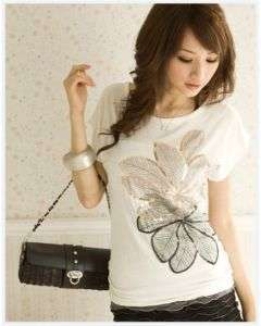 Womens Gold & Silver Leaf Print Short Sleeve T Shirt