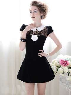Sweet Black Lace Cap Sleeve Party Mini Dress S M L