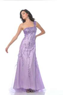 LONG ONE SHOULDER PROM GOWN BEADED LILAC FORMAL DRESS BALL GOWN